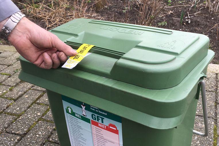 Nog tot eind april moet er een label worden aangebracht aan de gft-container.