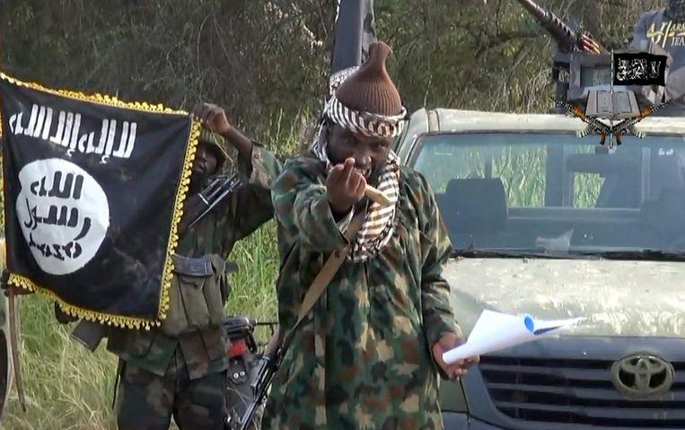 Boko Haram-leider Abubakar Shekau op een still van een Boko Haram-video uit begin oktober. Beeld afp
