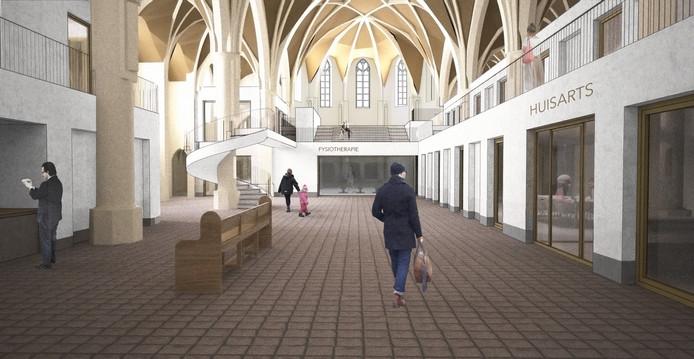 Het interieur van de Theresiakerk, zoals het er na de verbouwing uit zal gaan zien, met links achter een fraaie wenteltrap rond één van de pilaren van het kerkgebouw.