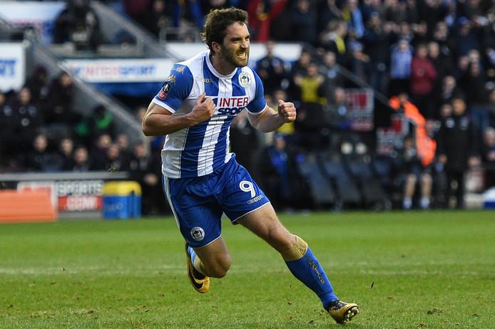 Will Grigg juicht na een goal namens Wigan Athletic.