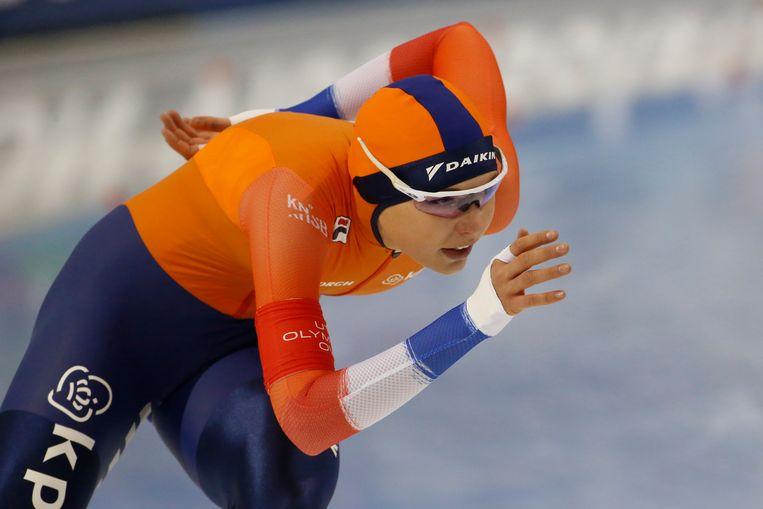 Leerdam op weg naar haar wereldtitel op de 1000 meter. Beeld AP