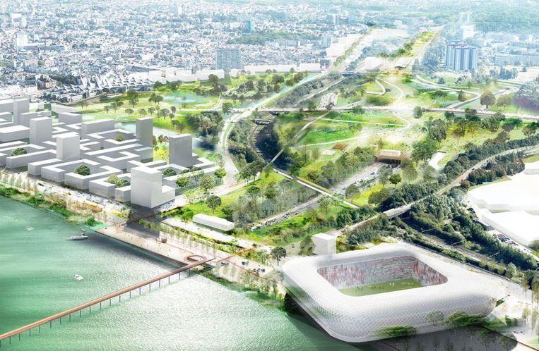 De omgeving in het zuiden van de stad met het nieuwe 'Scheldebalkon' en een eventueel toekomstig nieuw voetbalstadion.