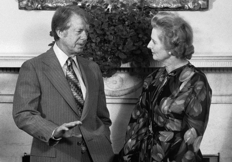 Voormalig Amerikaans president Jimmy Carter in 1977 met Margaret Thatcher.