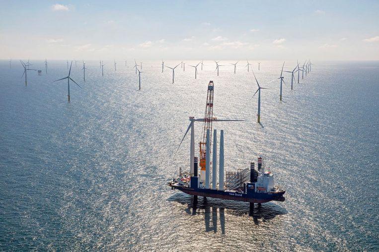Het voorlopig grootste windpark van Nederland op zee. Beeld null