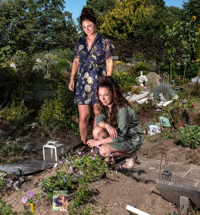 Kim en Femke van Summeren zijn blij dat Buddha zijn laatste rustplaats heeft gekregen op Klaverweiden. ,,Hier ligt alleen maar liefde begraven.''