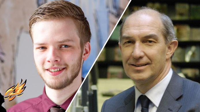 Student Floris Boudens en Universiteitsvoorzitter Anton Pijpers van de Universiteit Utrecht