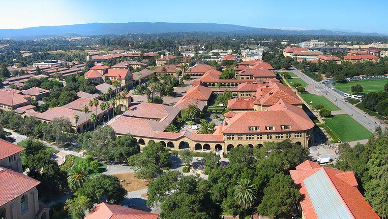 Luchtfoto van de campus van Stanford.