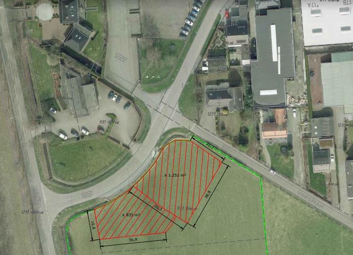 De kavels in Heesbeen volgens een kaartje van de gemeente Heusden uit oktober 2017.