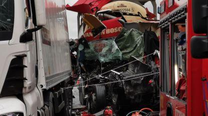Dodelijk slachtoffer bij kop-staartaanrijding in staart van file na eerder ongeval met vijf vrachtwagens: E17 richting Kortrijk volledig versperd