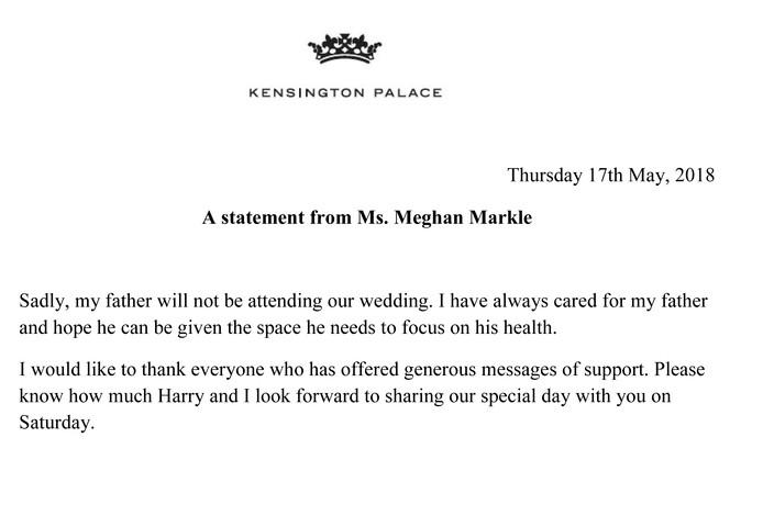 Het statement dat is vrijgegeven door Kensington Palace.