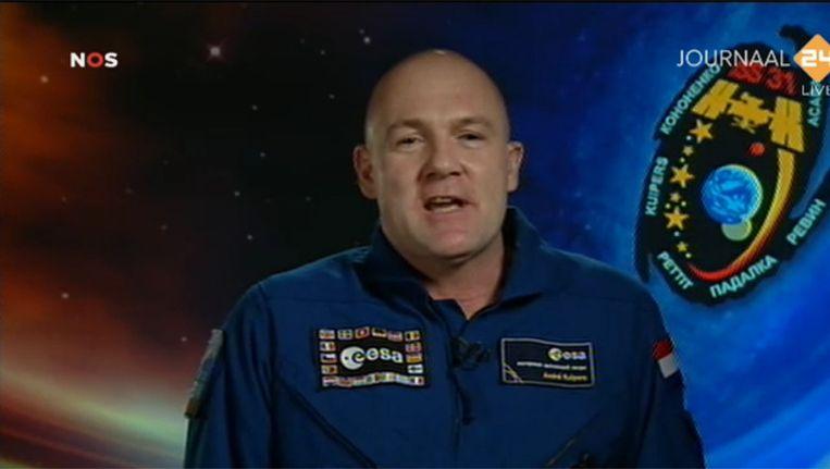 André Kuipers vandaag vanuit Houston. Screenshot via NOS Journaal 24. Beeld