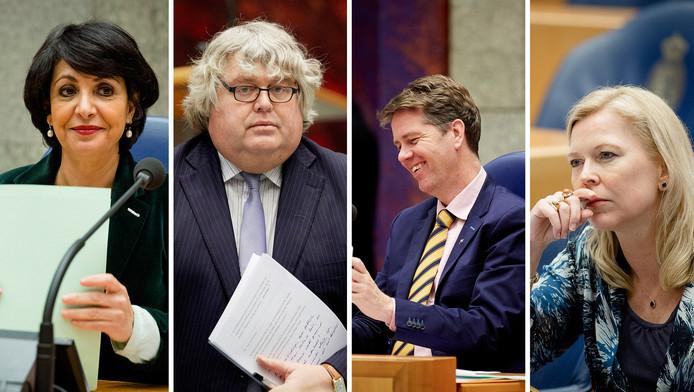 v.l.n.r: Khadija Arib (PvdA), Ton Elias (VVD), Martin Bosma (PVV) en Madeleine van Toorenburg (CDA)
