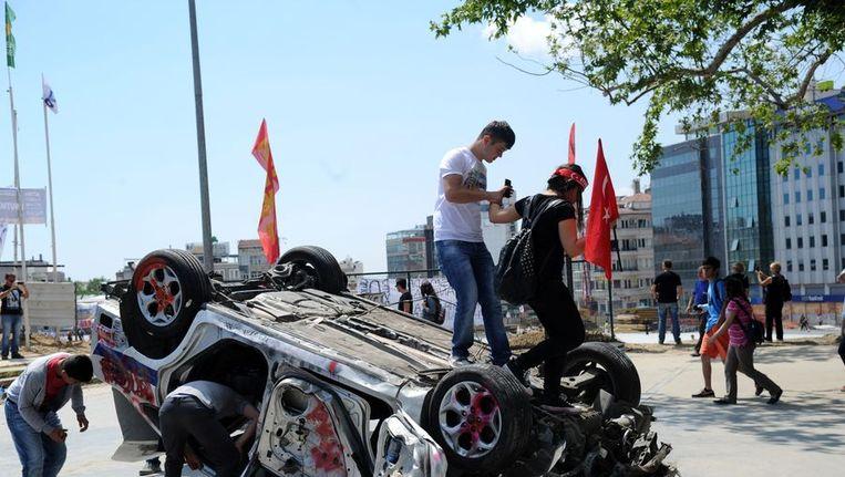 Demonstranten op Taksimplein. Beeld afp