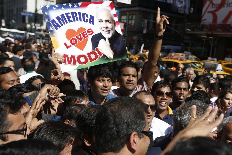 Fans van president Modi in New York. Beeld reuters
