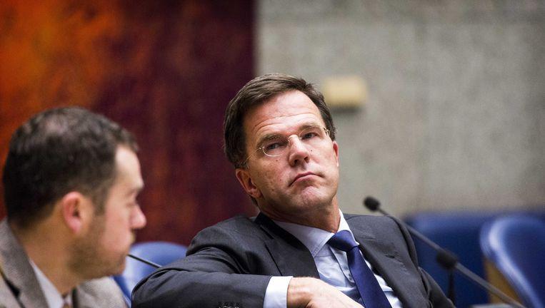 Premier Rutte tijdens het debat over de Teevendeal. Beeld anp