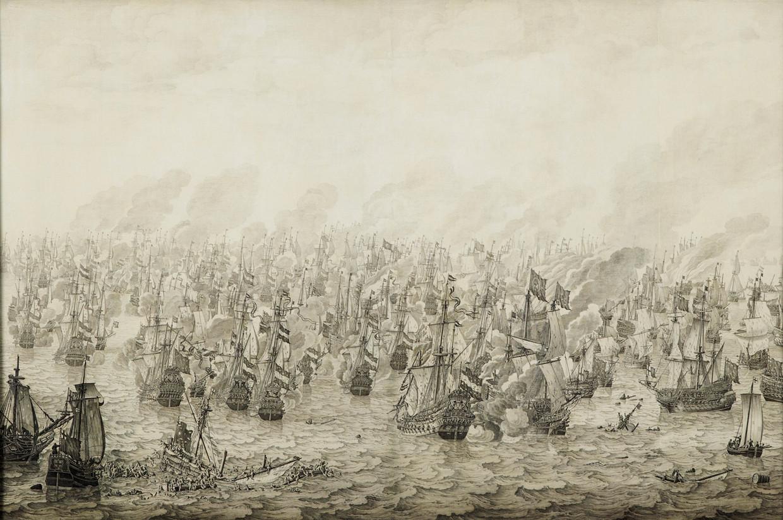 De zeeslag bij Nieuwpoort, 1653, door Willem van de Velde de Oude.