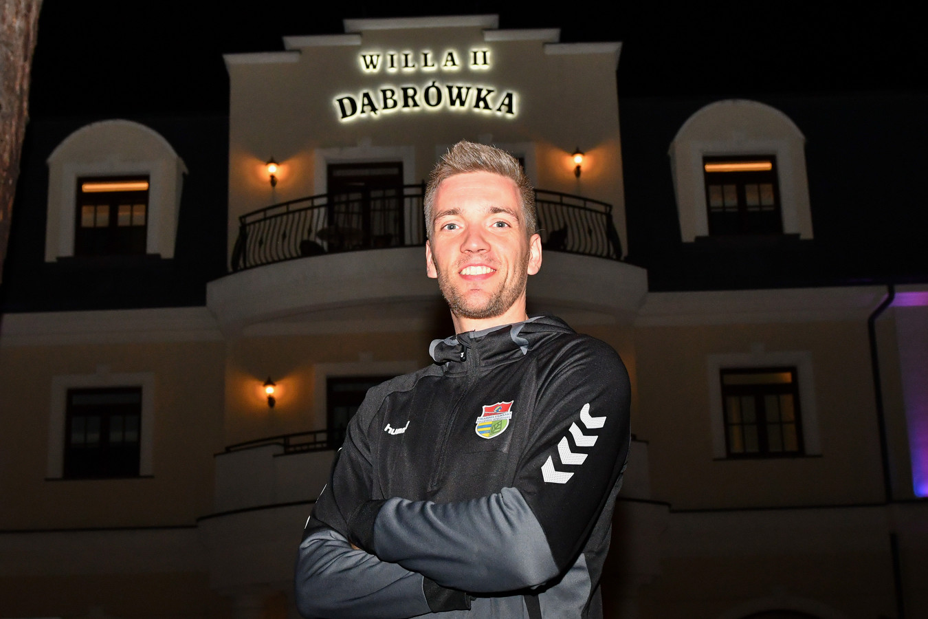 Sjoerd Hoogendoorn bij het hotel in Polen, waar zijn club Draisma Dynamo Champions vertoeft tijdens de Champions League-week.