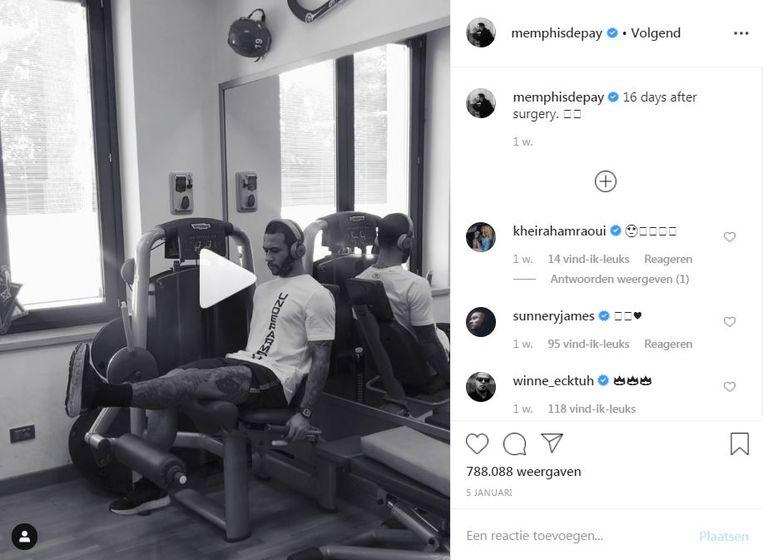 Memphis Depay houdt zijn volgers op de hoogte over zijn herstel. Beeld Instagram
