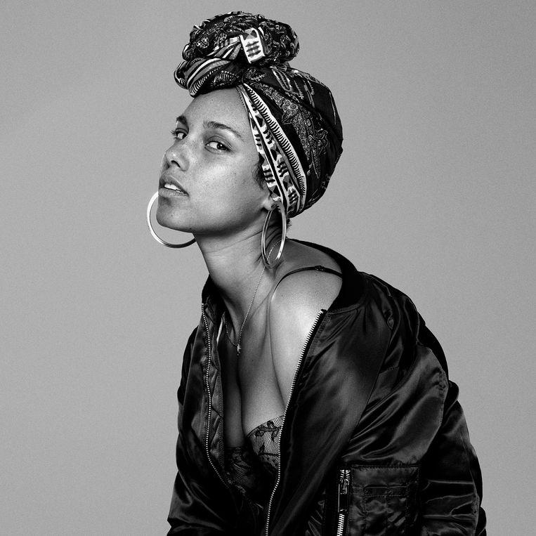 Alicia Keys, als model, zonder make-up. Beeld