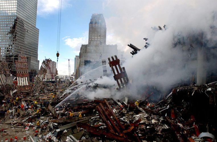 Ground zero, drie dagen nadat twee vliegtuigen in de Twin Towers vlogen. Beeld bruno