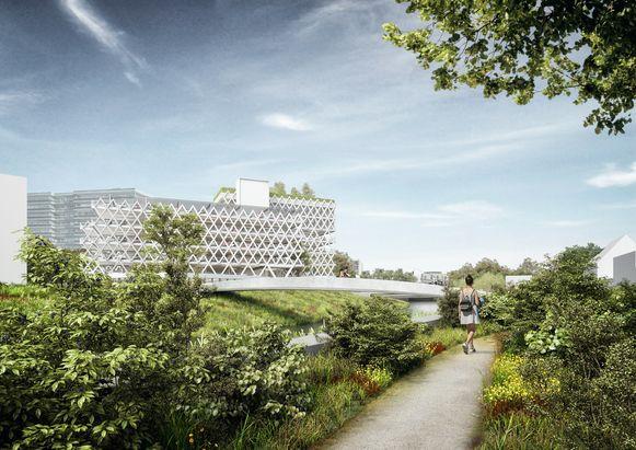 Impressie van het parkeergebouw op de Eandistip. De bouw start eind dit jaar.