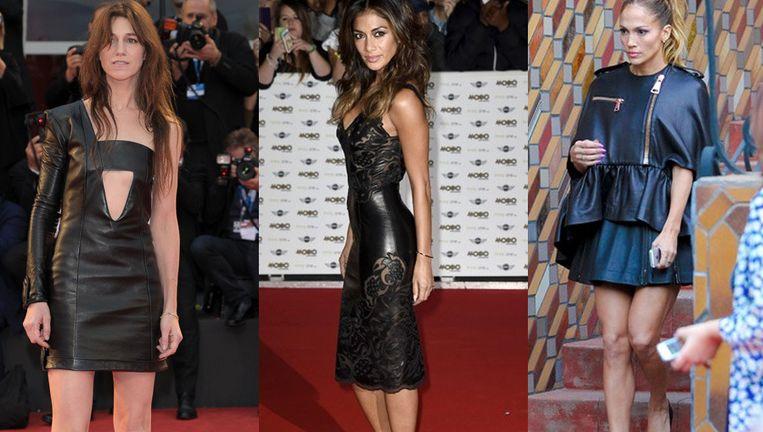 Charlotte Gainsbourg, Nicole Scherzinger en Jennifer Lopez tonen hoe je de lederen jurk kunt dragen.
