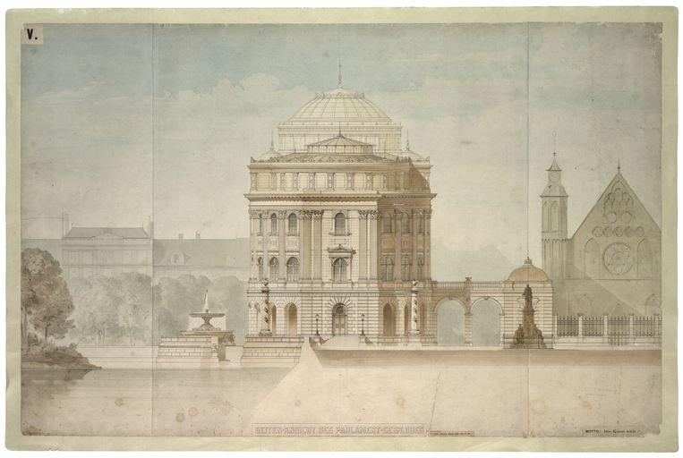 Ontwerp voor een Paleis der Staten-Generaal op het Binnenhof (1865) van Ludwig Lange. Beeld Collectie Nationaal Archief.
