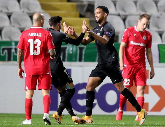 Yangel Herrera van Granada viert zijn goal.