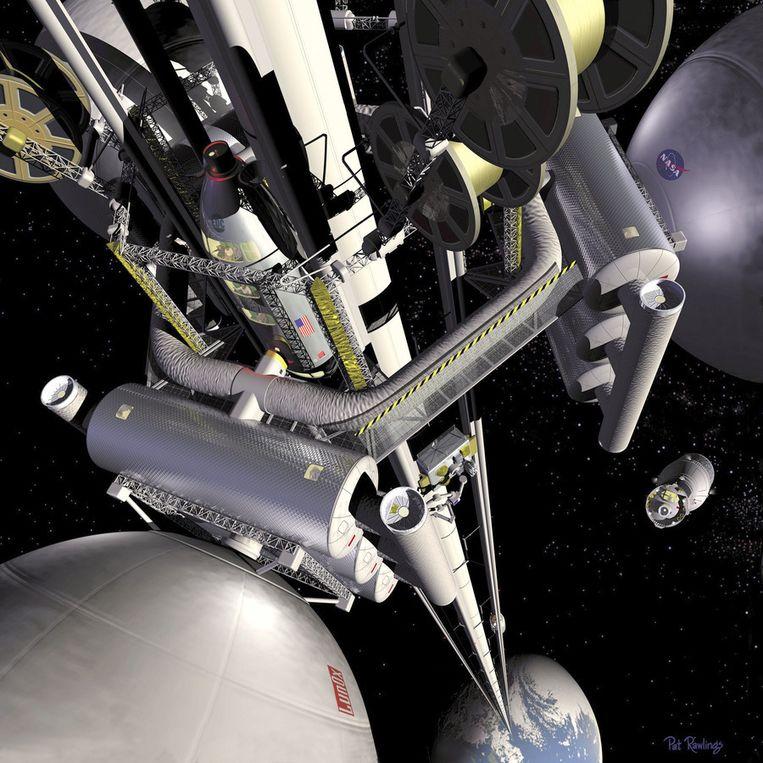 Concept ontwerp van een NASA ruimtelift. Foto ter illustratie. Beeld ANP