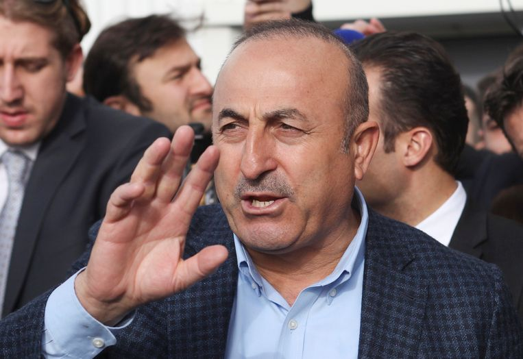 De Turkse minister van Buitenlandse Zaken, Mevlut Cavusoglu. Beeld ap