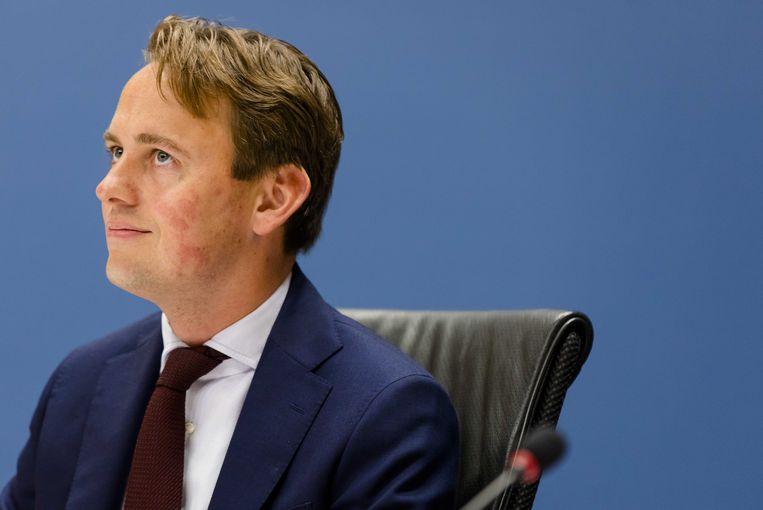 Commissievoorzitter Henk Nijboer (PvdA) tijdens een verhoor van de Parlementaire ondervragingscommissie Fiscale constructies. Beeld ANP