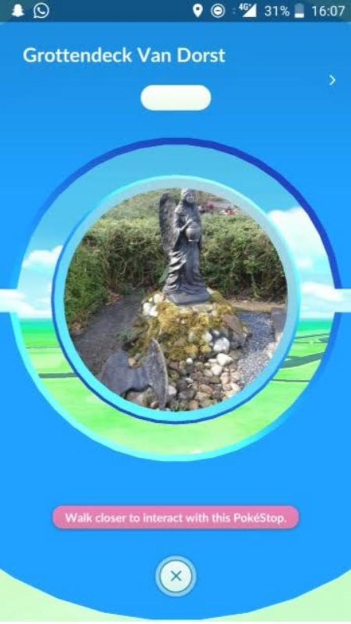 De omstreden PokéStop zoals de speler deze in beeld krijgt.
