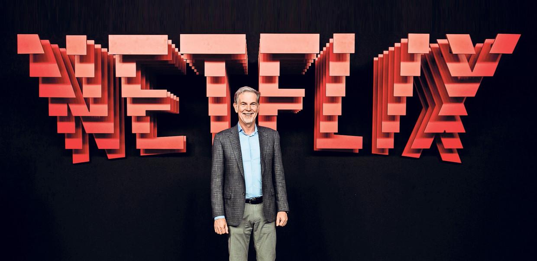 Reed Hastings, directeur van Netflix, tijdens een presentatie in Madrid in 2019. Beeld Getty Images for Netflix