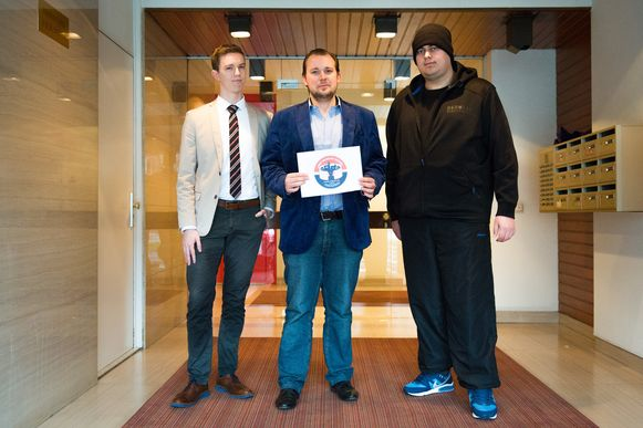 Jong N-VA'ers Killian Paenen, Jan Bogaerts en Henning Van Duffel.