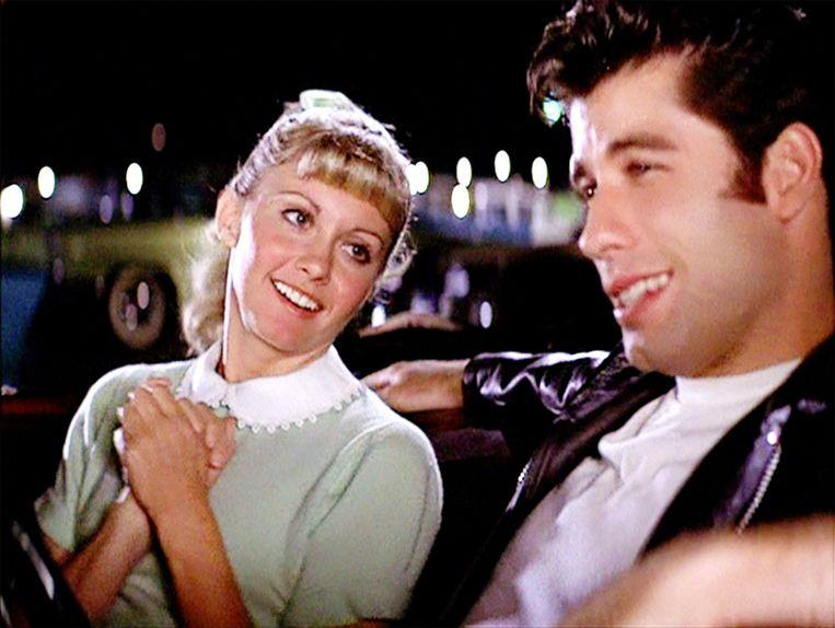 Olivia Newton John en John Travolta als Sandy en Danny in de cultfilm 'Grease'.