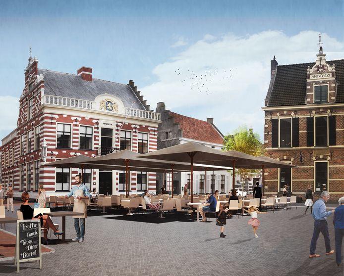Zo komt de Markt in Hattem er met de nieuwe klinkers uit te zien.