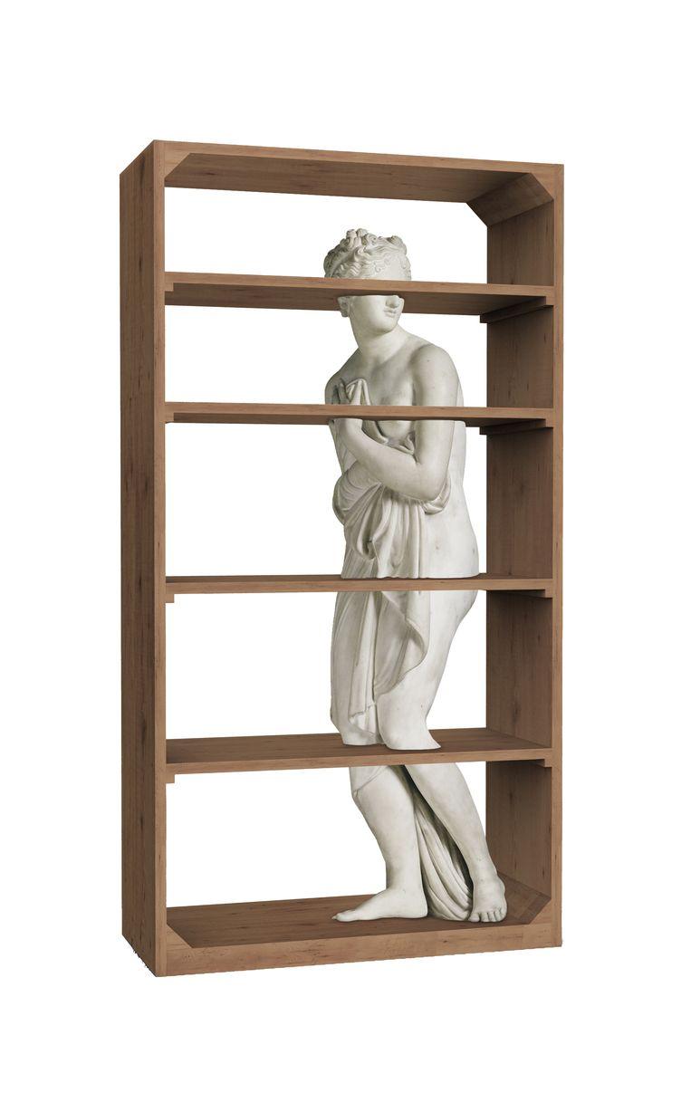 Fabio Novembre integreert de Romeinse godin Venus in zijn houten boekenkast Beeld Fabio Novembre