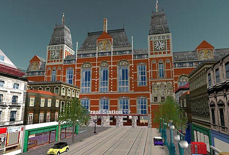 Het station in Amsterdam in Second Life Beeld null