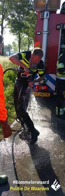 Onbedoeld frisse duik voor drachtige pony en politie in sloot in Nieuwaal