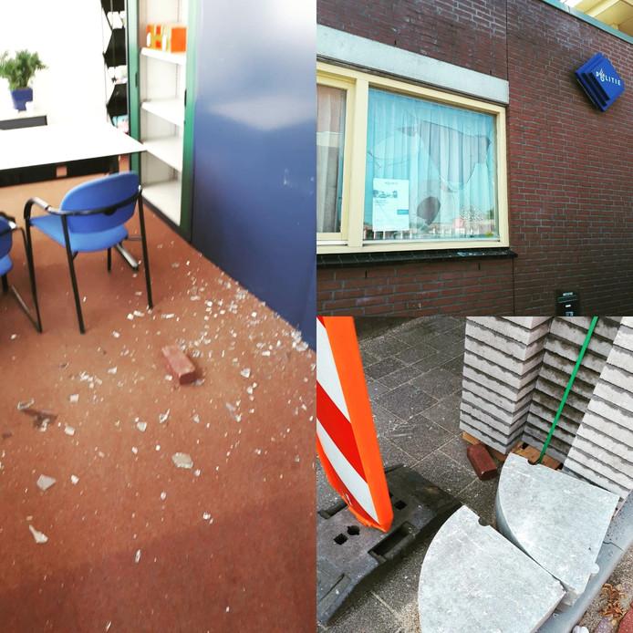 Baksteen door de ruit bij politiebureau Oisterwijk