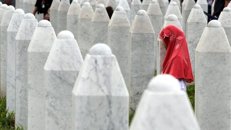 Gedenkstenen voor de val van Srebrenica. Beeld epa