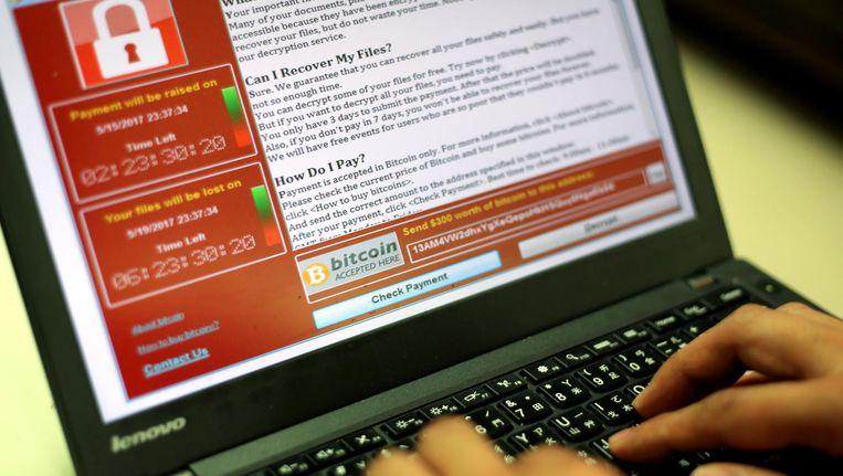 Voorbeeld van een ransomware-aanval. Beeld epa