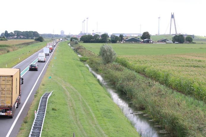 Groeiende file op de N50. In de verte de Eilandbrug.