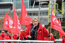 Miranda Ulens, algemeen secretaris en voorzitter Vlaams ABVV, aan het Antwerps justitiepaleis donderdagochtend.