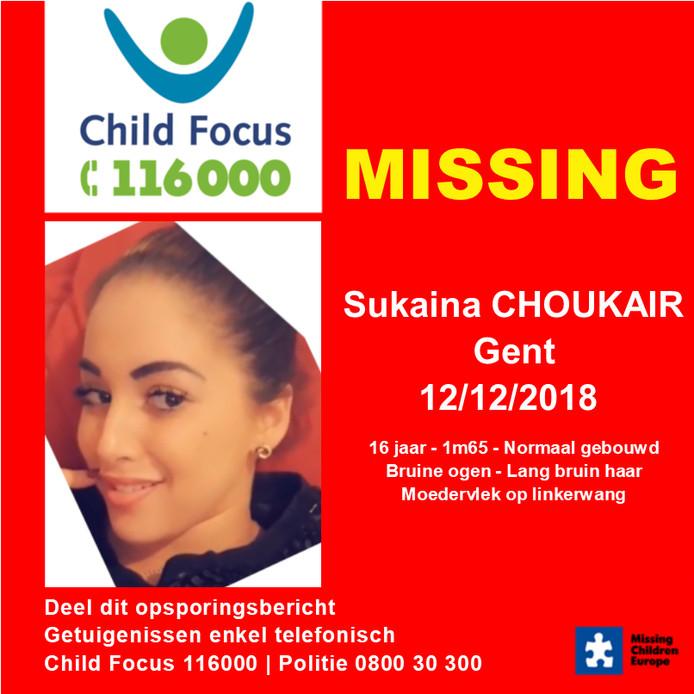 De 17-jarige Sukaina Choukair is al een maand vermist.
