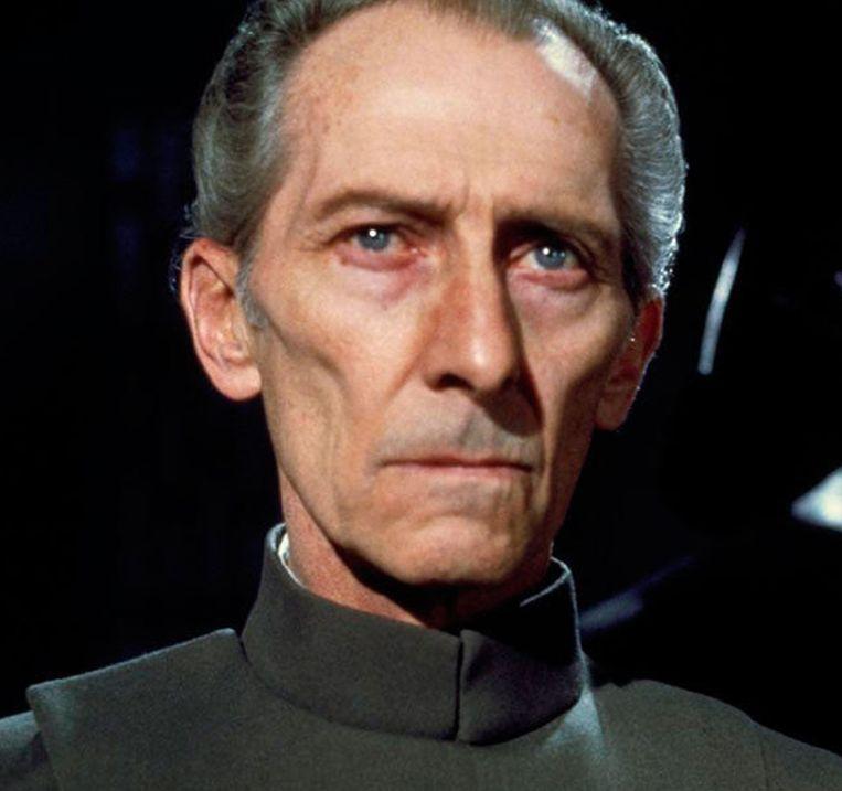 De digitale herrijzenis van Peter Cushing (1913-1994) als acteur in Rogue One: A Star Wars Story (2016). Beeld