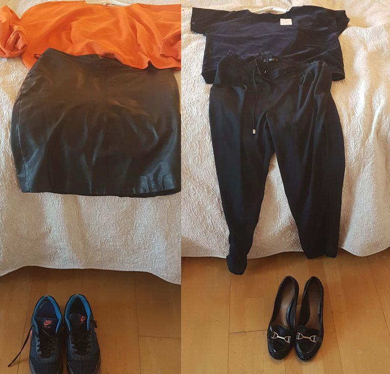 Favoriete outfits. Rechts: oranje top van H&M, leren kokerrok van DEPT en Nike Air Max. Links: fluwelen top van Anecdote, broek van ZARA en hakken van Clarks.  Beeld rv