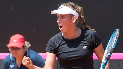 Elise Mertens moet even zwoegen, maar toont België de weg: Fed Cup-dames leiden in ontmoeting met Italië