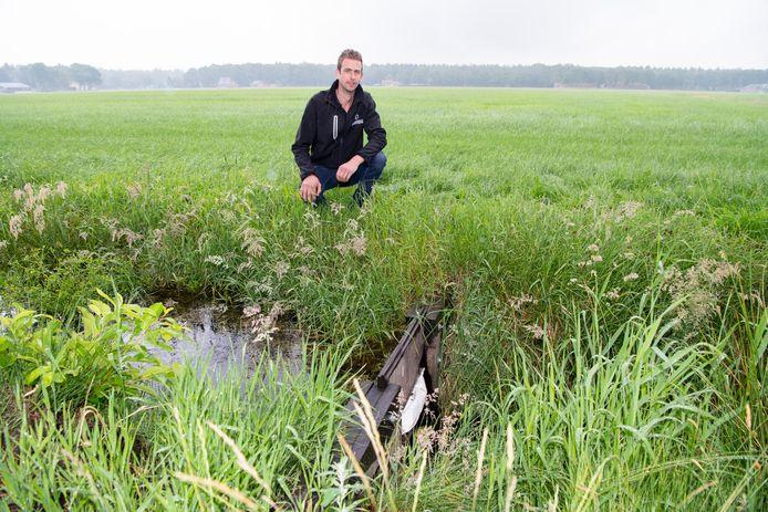 Agrariër Gerald Hemstede bij de stuw die een belangrijke rol speelt in het drainage-systeem dat het weiland op de achtergrond nat houdt tijdens warme dagen.