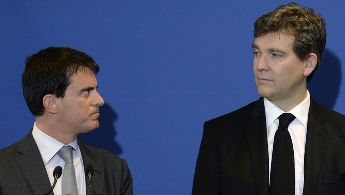 Le Premier ministre Manuel Valls et le ministre de l'Economie Arnaud Montebourg